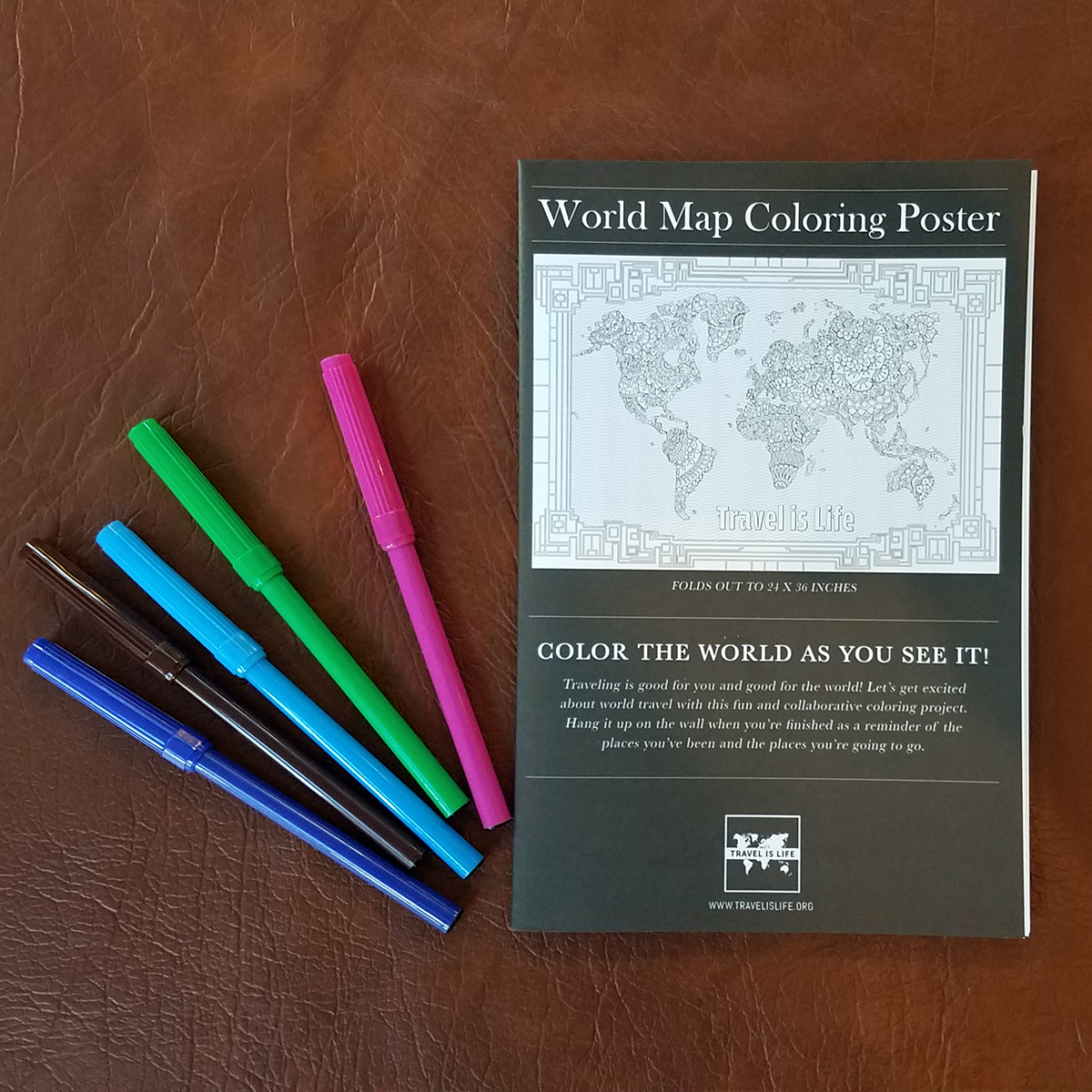 World Map Coloring Poster by Travel is Life