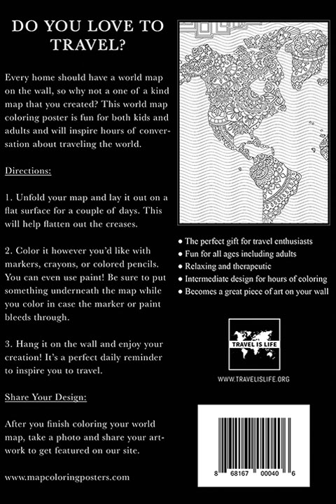 World map coloring poster for kids adults by travel is life the perfect gift for travel enthusiasts gumiabroncs Images
