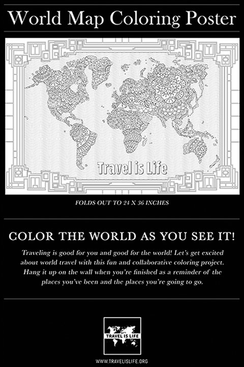 World map coloring poster for kids adults by travel is life color the world as you see it publicscrutiny Gallery